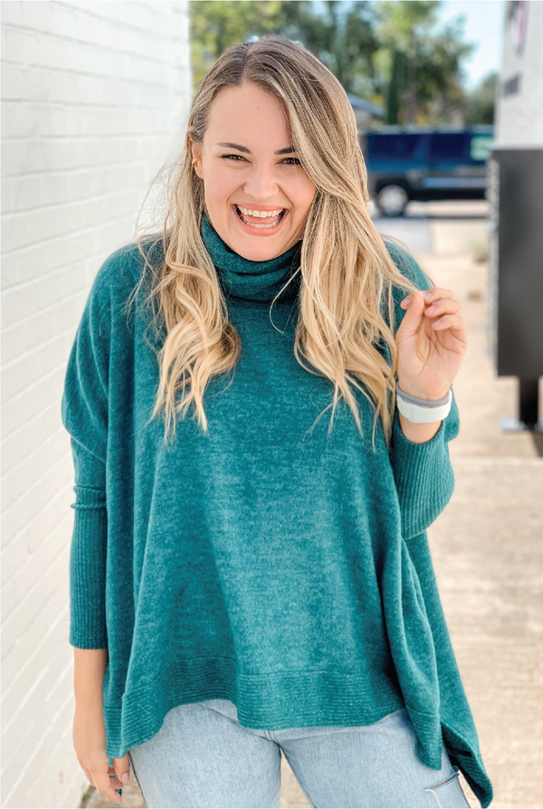 Cuffing Season Cowl Neck Top - Hunter Green
