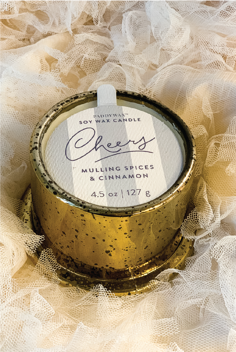 Mini Cheers Tinsel Candle - Tucker Brown