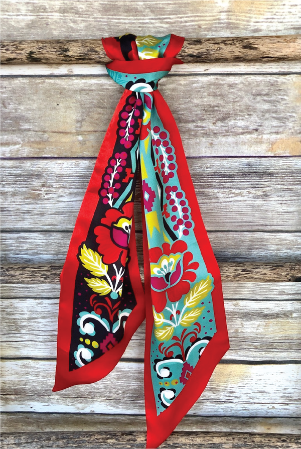 Fiore Silk Twilly Scarf - Tucker Brown