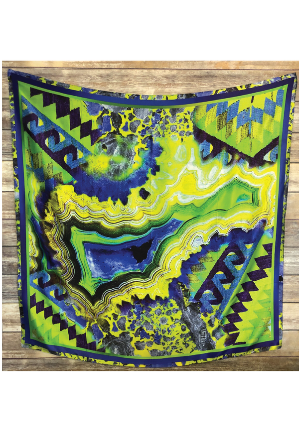 Miami Agate Silk Scarf - Green - Tucker Brown