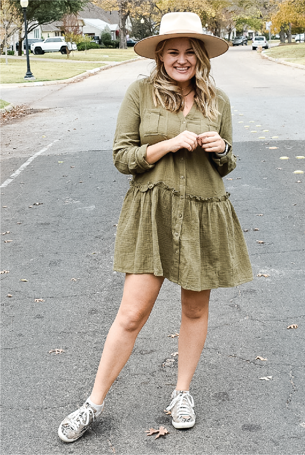 Green Gables Dress - Olive - Tucker Brown