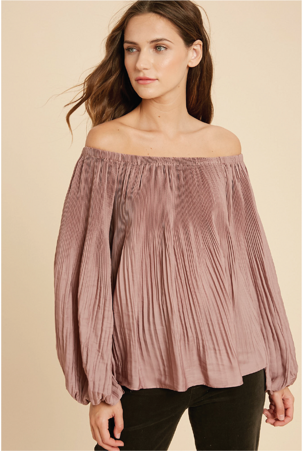 Pretty Pleats Blouse - Mauve - Tucker Brown