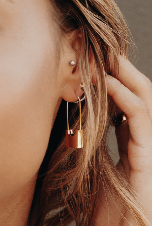 Codie Lock Earrings - Gold - Tucker Brown