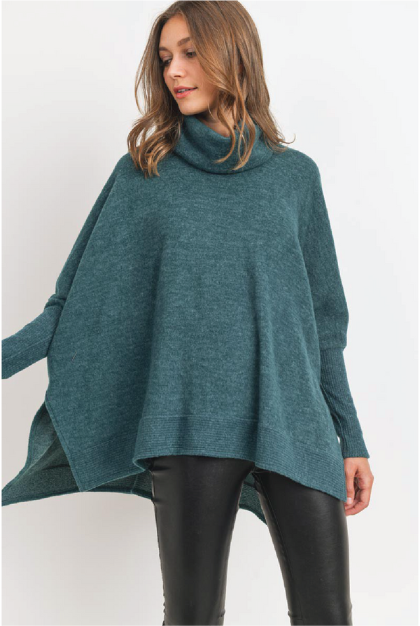 Cuffing Season Cowl Neck Top - Hunter Green - Tucker Brown