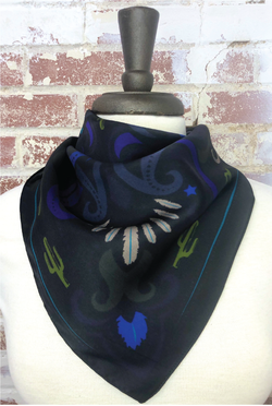 Sonoran Feather+Cactus Silk Scarf - Tucker Brown