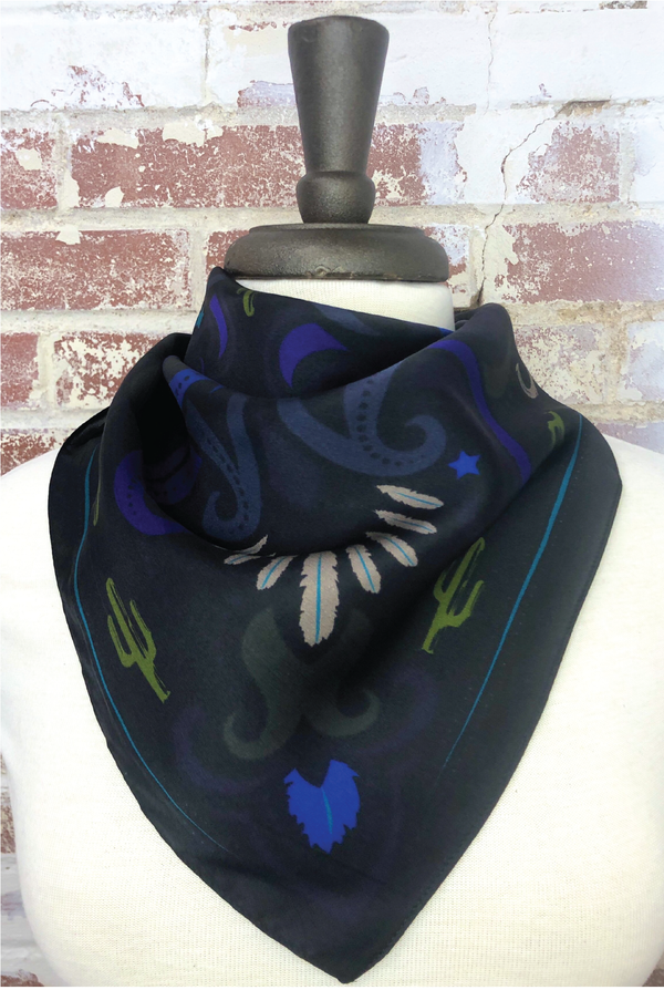 Sonoran Feather+Cactus Silk Scarf