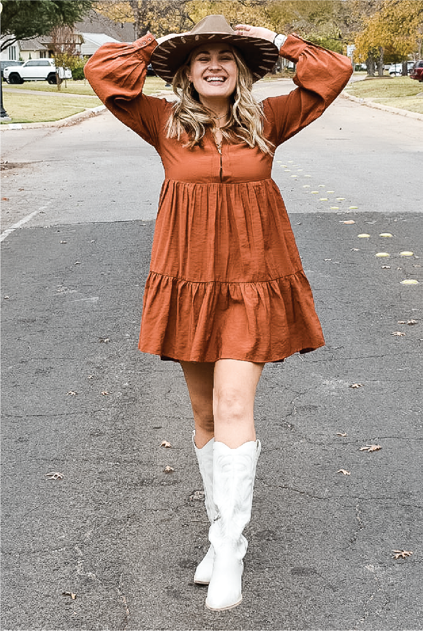 Alexis Collar Dress - Rust