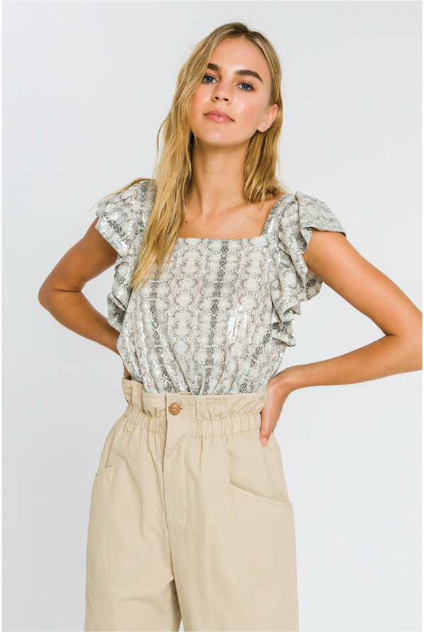 Sequin Snake Blouse - Tucker Brown