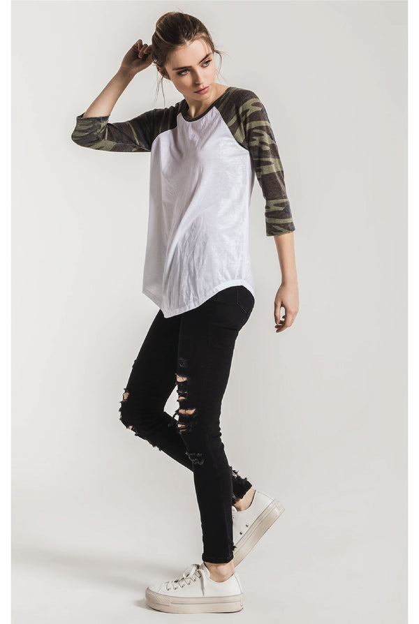 Z Supply - The Camo Baseball Tee - White/Olive - Tucker Brown