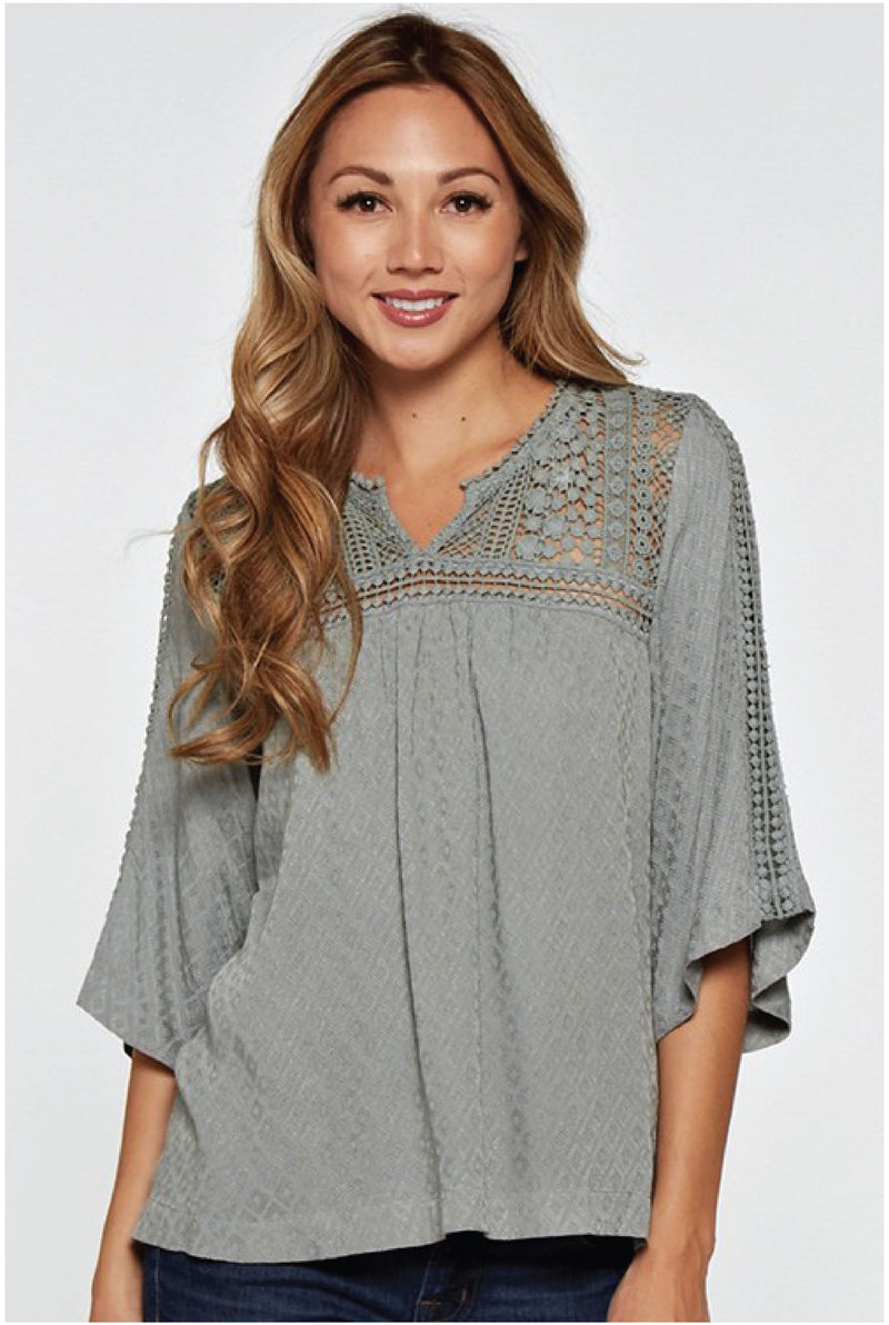 Lyla Pop Over Lace Inset Top - Tucker Brown