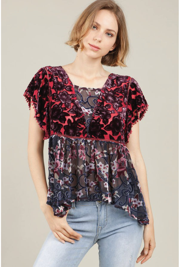 Irene Ruffle Floral Velvet Top - Navy/Burgundy - Tucker Brown