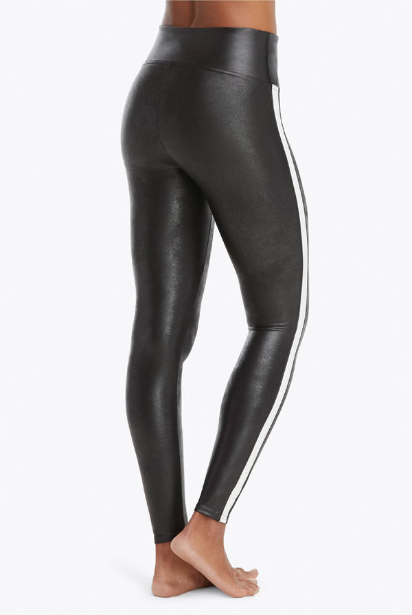 Faux Leather Tuxedo Leggings - Black - Tucker Brown