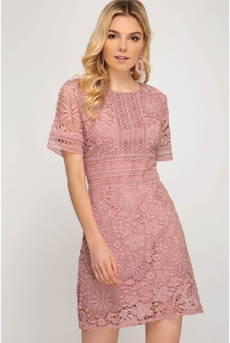 Imogene Crochet Dress - Tucker Brown