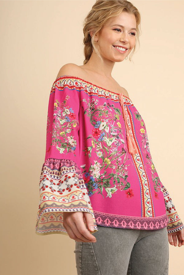 Havana Off Shoulder Top - Fuchsia - Tucker Brown