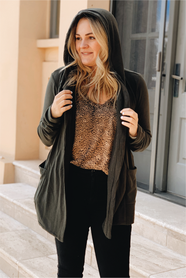 Thermal Lined Cardigan - Olive