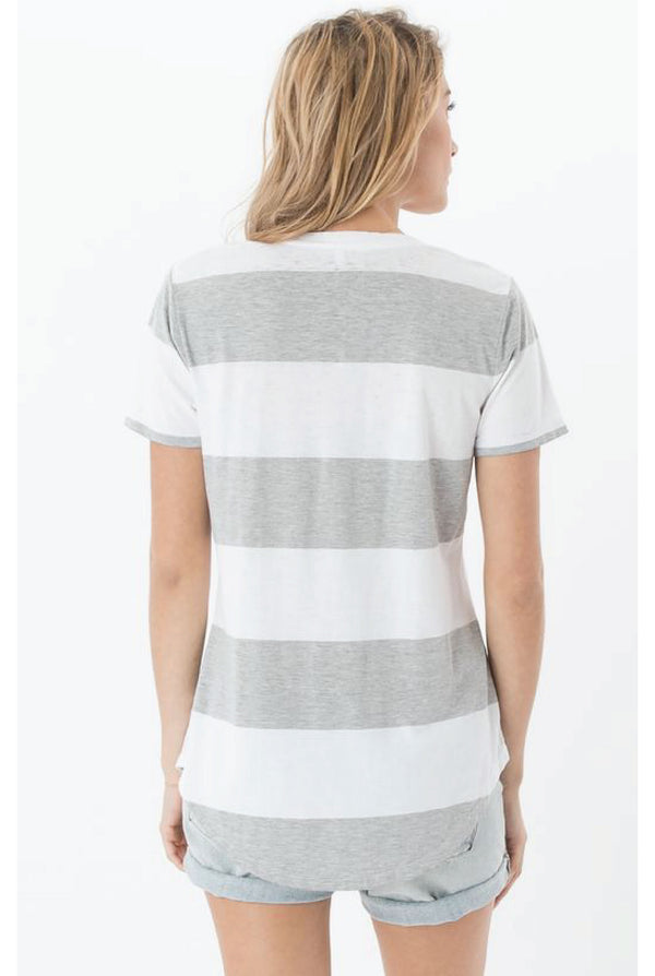 Z Supply - Venice Stripe Tee - Heather Grey/White - Tucker Brown