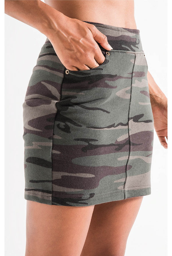The Camo Knit Mini Skirt - Olive - Tucker Brown