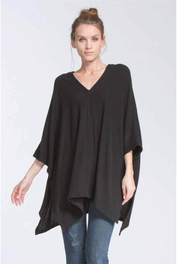 Double V Poncho Sweater - Black - Tucker Brown