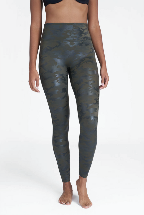 Faux Leather Camo Leggings - Matte Green - Tucker Brown
