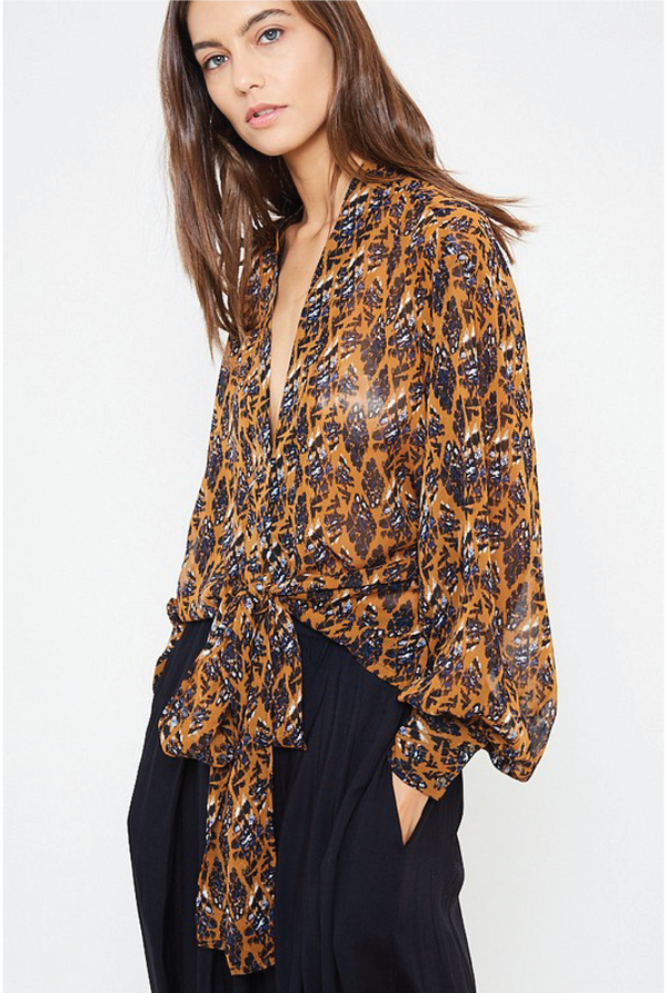 Blackbird Tie Print Blouse - Rust - Tucker Brown