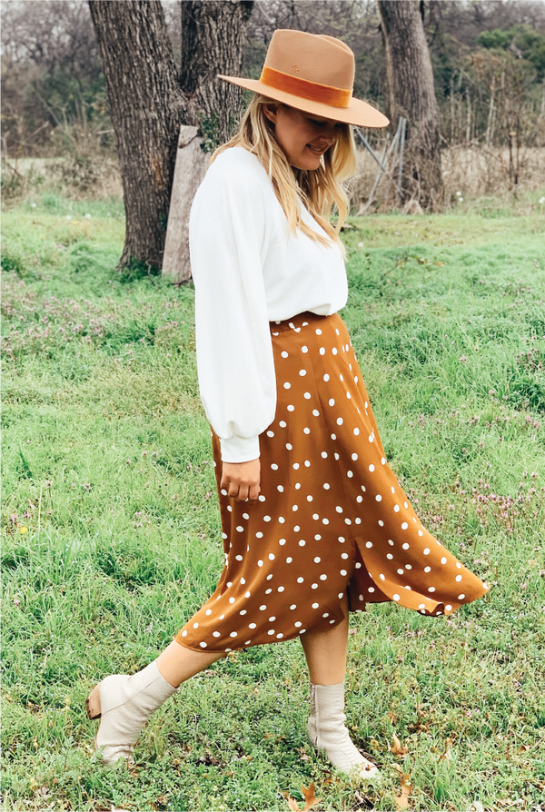 Dotty Love Skirt - Camel - Tucker Brown