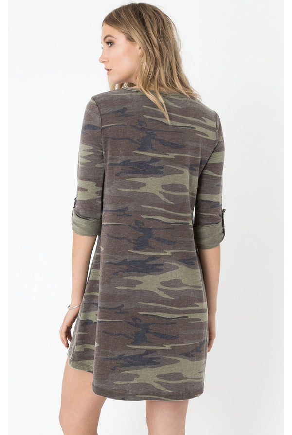 Z Supply - Camo Symphony Dress - Olive - Tucker Brown