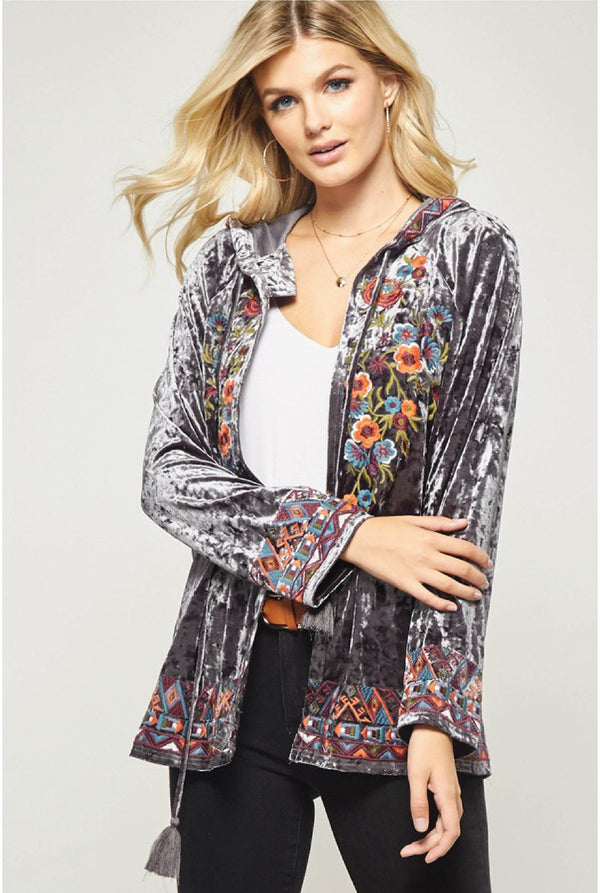 Rumy Velvet Emboidered Cardi - Grey - Tucker Brown