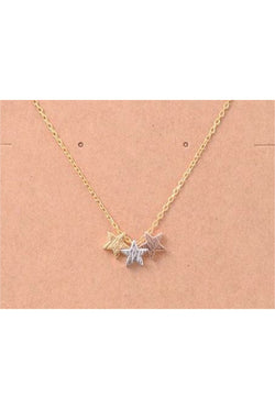 Dainty Three Stars Necklace - Tucker Brown