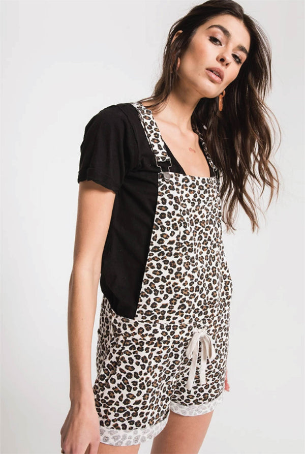 The Leopard Short Overalls - Tucker Brown