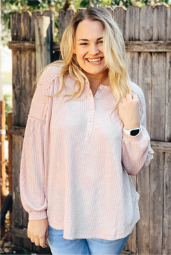 Hey Girl Henley Top - Blush - Tucker Brown