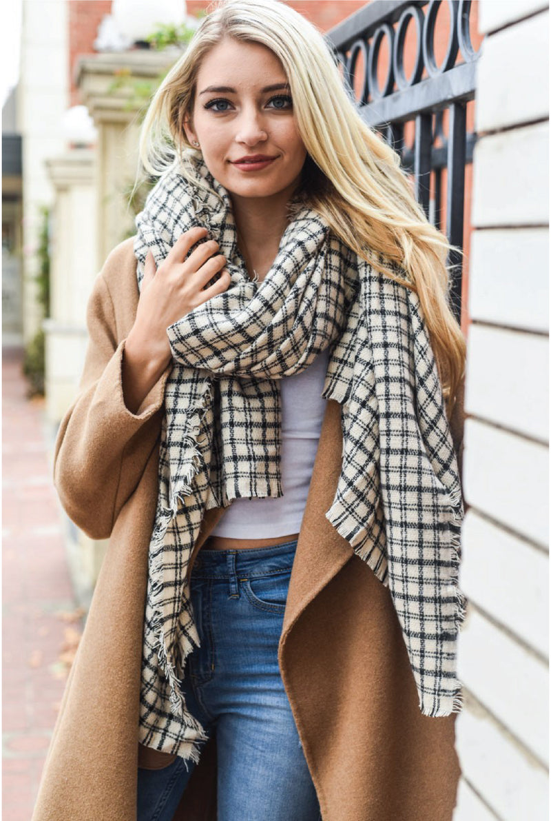 Tattersall Plaid Blanket Scarf - Tucker Brown