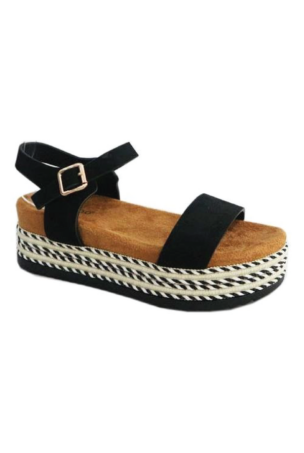 Cara Espadrille Wedge - Black - Tucker Brown