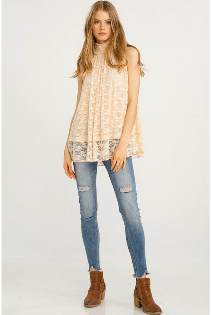 Maribel Lace Tank - Ivory - Tucker Brown