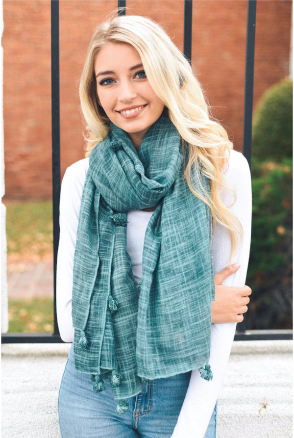 Pom Tassel Scarf - Tucker Brown