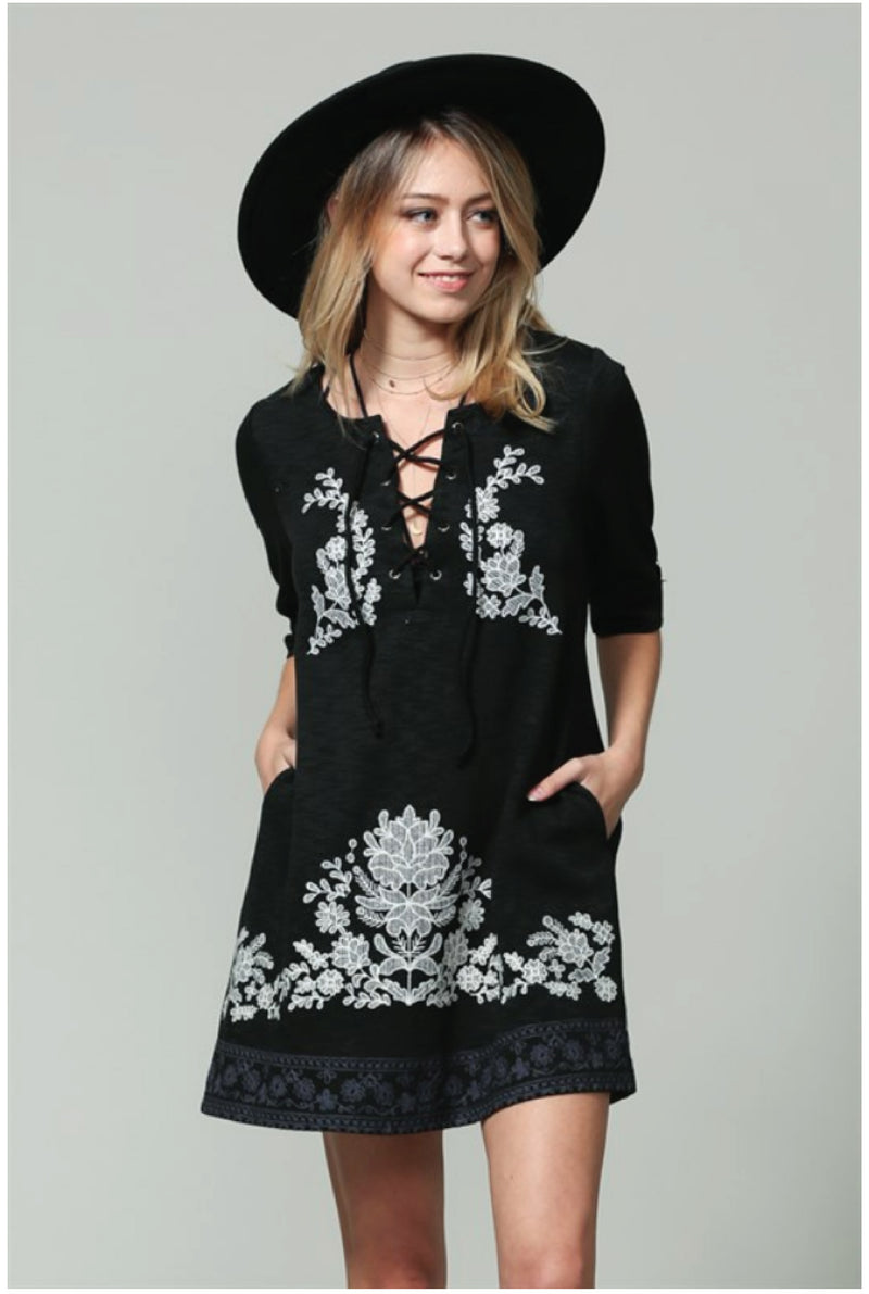 Lillian Embroidered Dress --Black - Tucker Brown