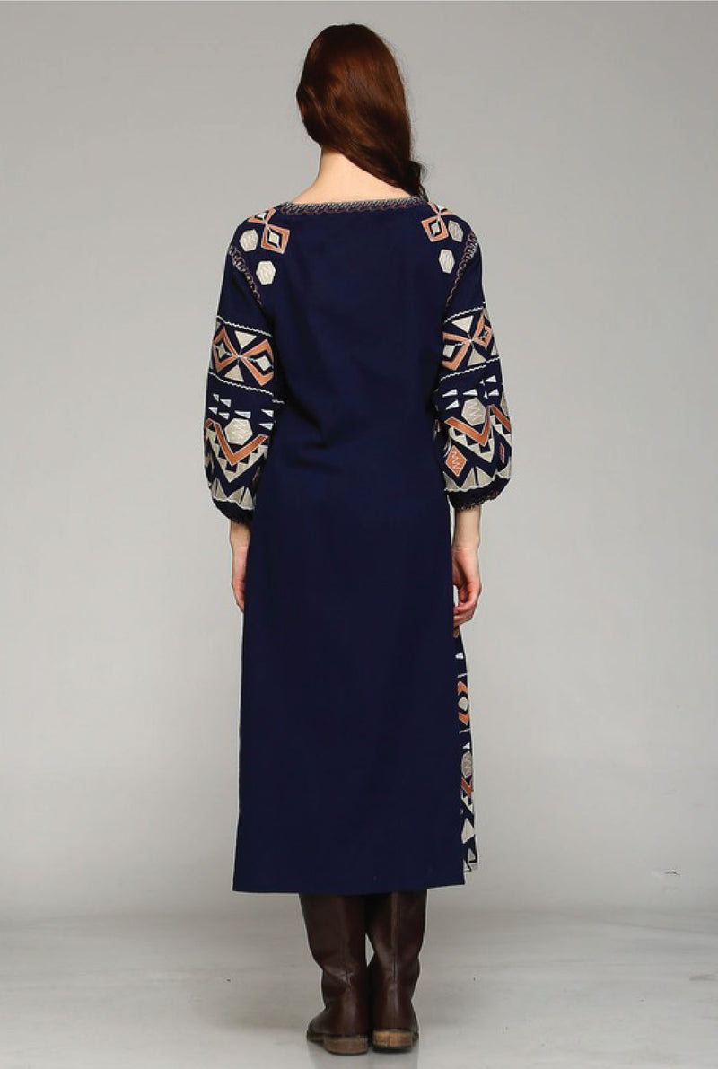 Valeria Embroidered Duster - Navy - Tucker Brown