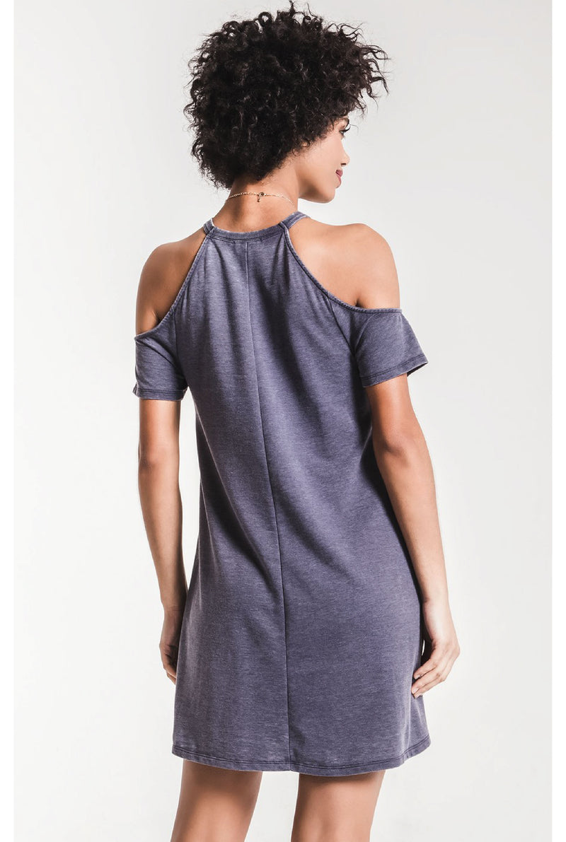 Z Supply - The Short Sleeve Cold Shoulder Dress - Charcoal - Tucker Brown
