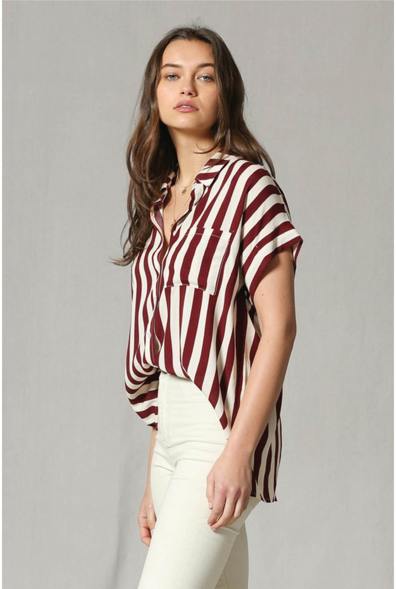 Wine Not Stripe Top - Tucker Brown