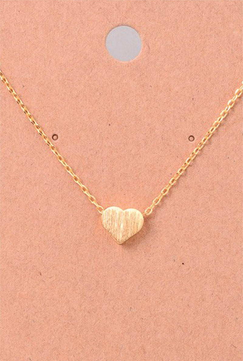 Dainty Tiny Heart Necklace - Tucker Brown