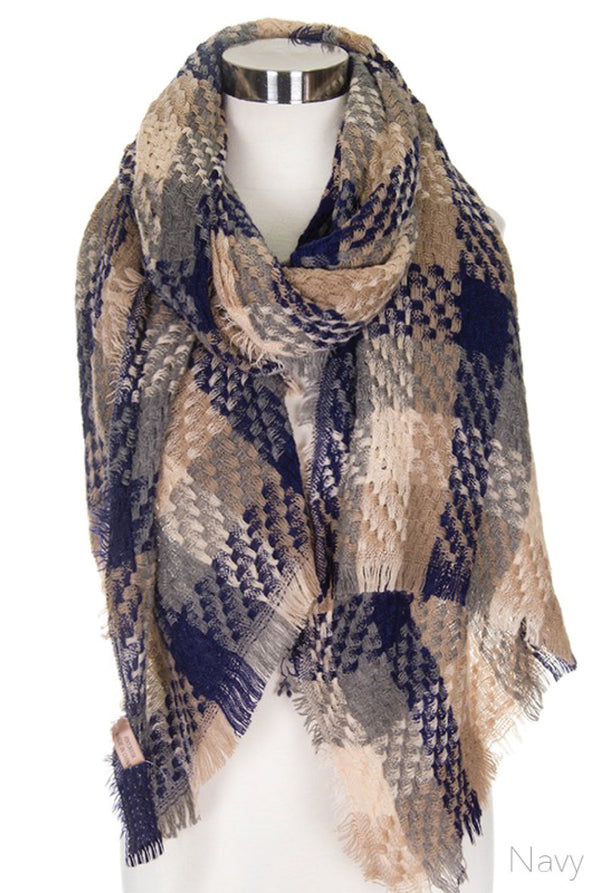 Ultimate Plaid Scarf - Navy - Tucker Brown