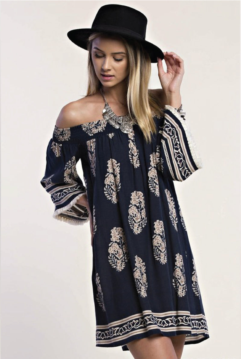 Leaves Fall Off Shoulder Dress - Tucker Brown