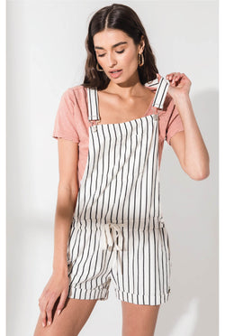 Z Supply - Pinstripe Short Overalls - Pearl/Black - Tucker Brown