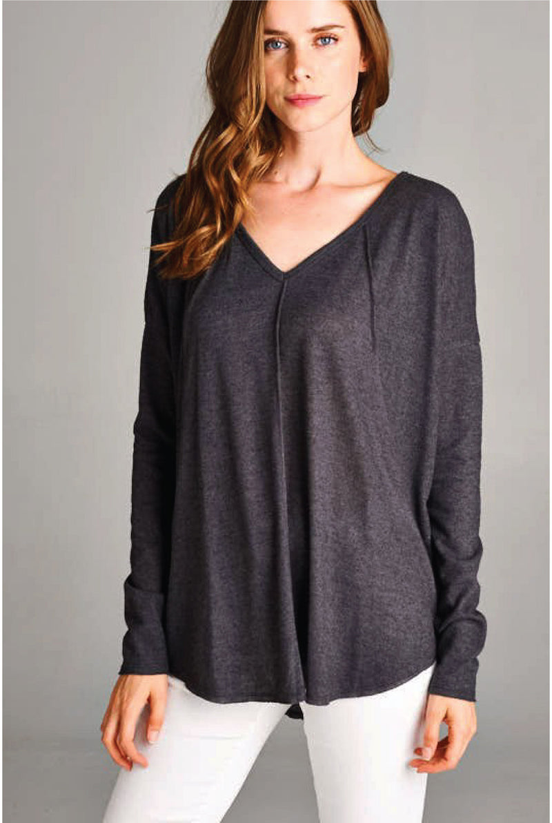 Brushed Reverse Seam Top - Charcoal - Tucker Brown