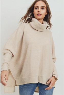 Cuffing Season Cowl Neck Top - Oatmeal - Tucker Brown
