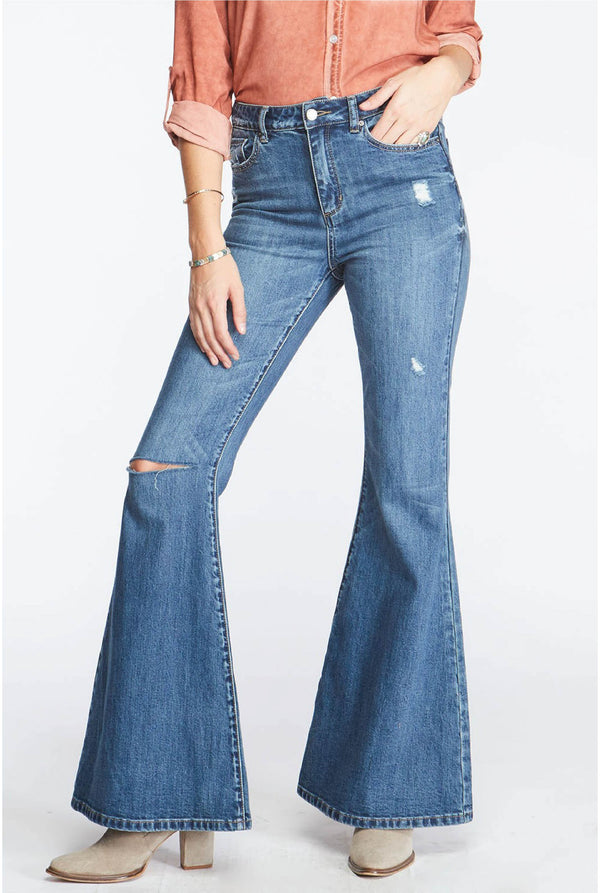 Haley High Rise Bell Bottoms - Tucker Brown