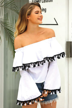 Somewhere South Off Shoulder Top - White - Tucker Brown