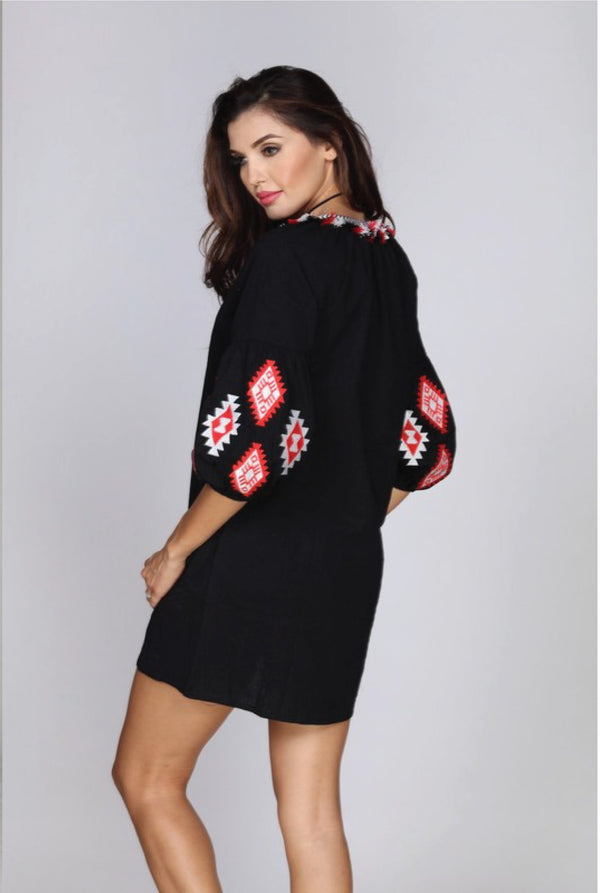 Ariana Embroidered Dress - Tucker Brown