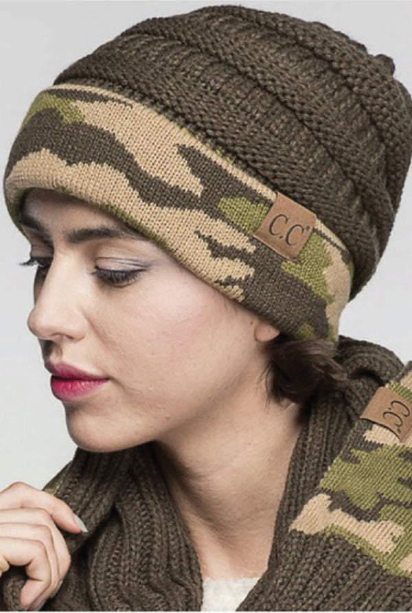 Camo + Knit Beanie - Tucker Brown