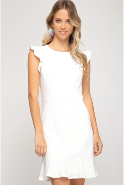 Miriam Cap Sleeve Dress - White - Tucker Brown