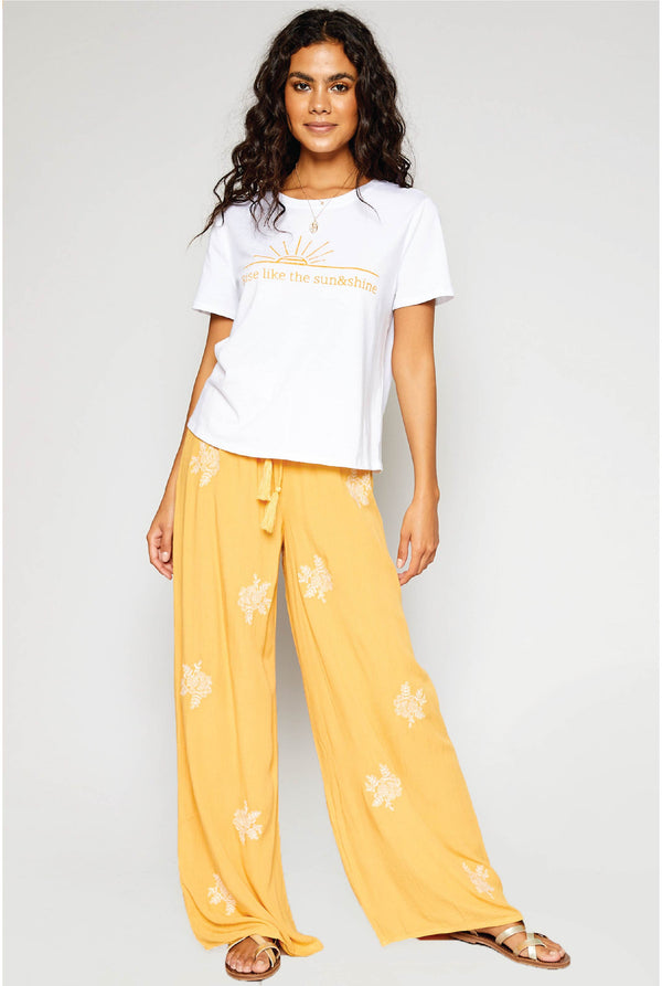 Rising Sun Embroidered Pants - Yellow - Tucker Brown